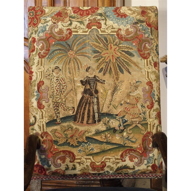 17th Century French Walnut and Saint-Cyr Tapestry Armchairs - a Pair For Sale - Image 11 of 13