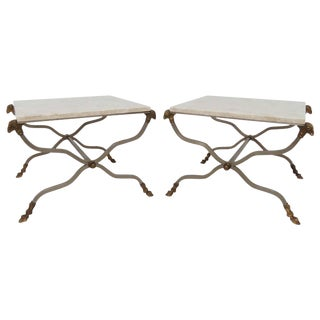 Pair of Italian X-Form End Tables With Ram's Head Accents and Travertine Tops For Sale