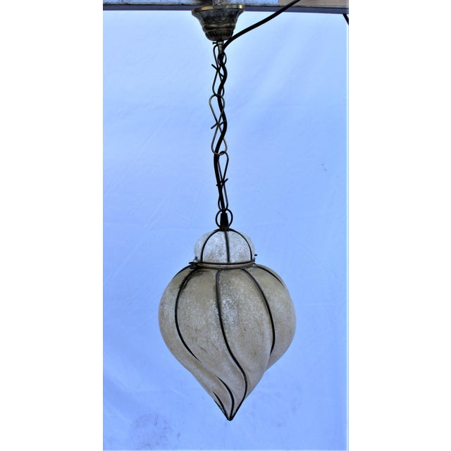 Italian Glass Lantern Frosted Wire Wrapped Lantern For Sale In Los Angeles - Image 6 of 6