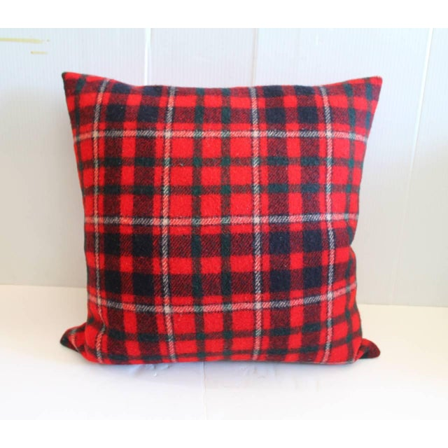 Country Pair of Red and Blue Pendleton Blanket Pillows For Sale - Image 3 of 6