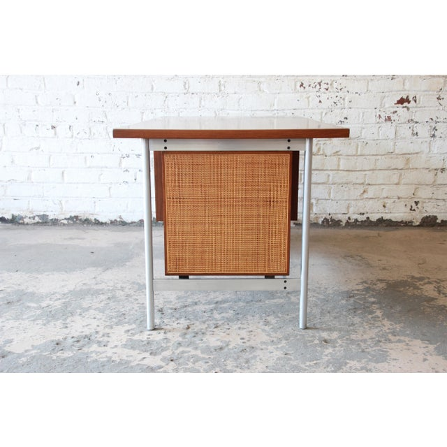 Jens Risom Mid-Century Modern Executive Desk in Walnut, Cane, and Steel For Sale - Image 10 of 13
