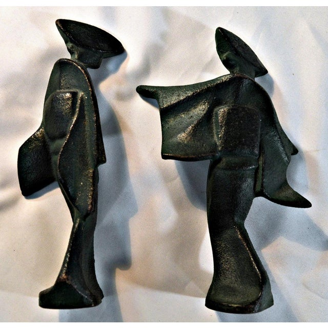 Mid-Century Cast Iron Geisha Figures - A Pair For Sale In Miami - Image 6 of 11