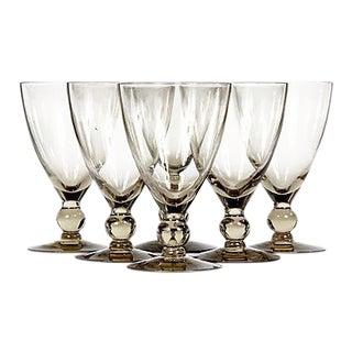 1960s Brown Smoked Glass Stems - Set of 6