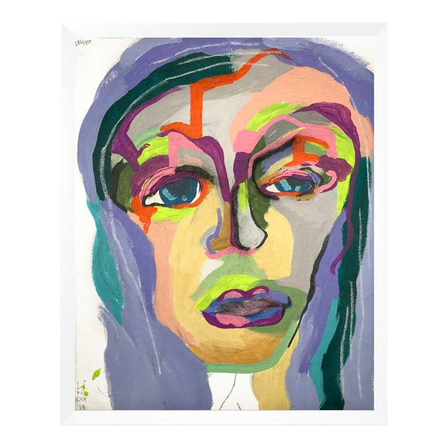 """Contemporary Abstract Portrait Painting """"My Mother's Daughter"""" - Framed For Sale"""