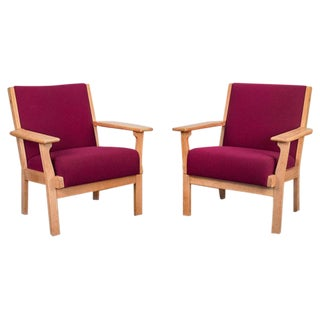 Hans Wegner Oxblood Armchairs - a pair For Sale