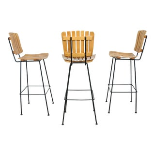 Arthur Umanoff Wrought Iron Stools -- Set of 3
