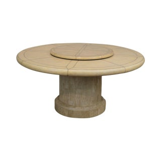 """Maitland Smith Vintage 64"""" Round Leather Top Dining Table W/ Tessellated Stone Base For Sale"""
