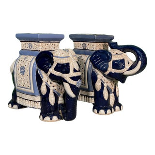 Large Ceramic Reticulated Faience Elephant Garden Stools For Sale