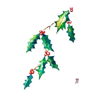 Red & Green Holly Leaf Print For Sale