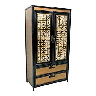 Gold Black Lacquer Armoire