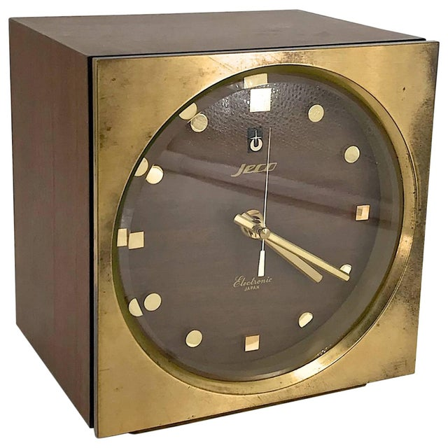 1960s Tiger Tenaka Japanese Table Clock in Walnut Glass and Brass For Sale - Image 11 of 11
