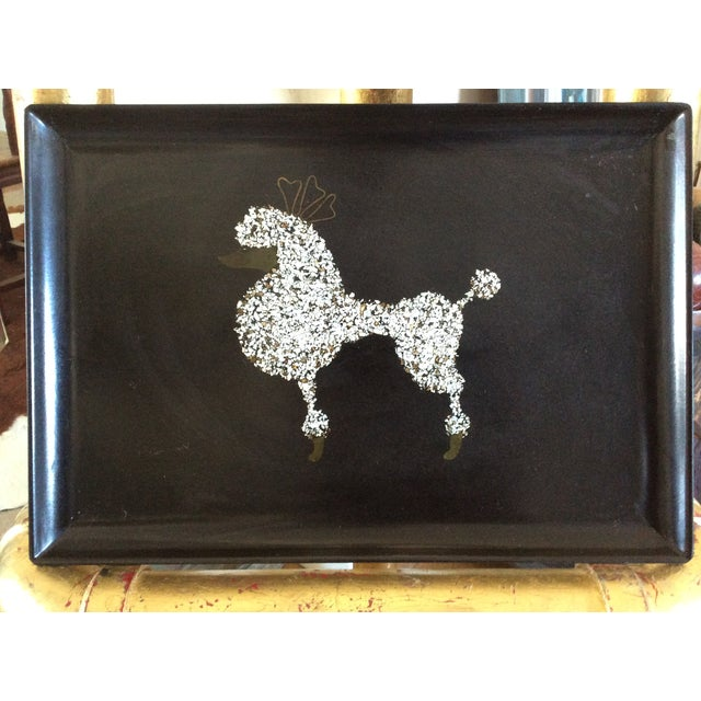 60s Black Poodle California Couro Abalone Tray - Image 5 of 8