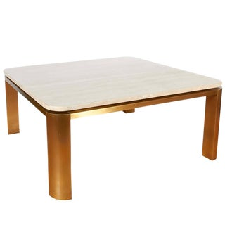 1970s Mid-Century Modern Leon Rosen Floating Travertine Top Coffee Table With Original Marble Top For Sale