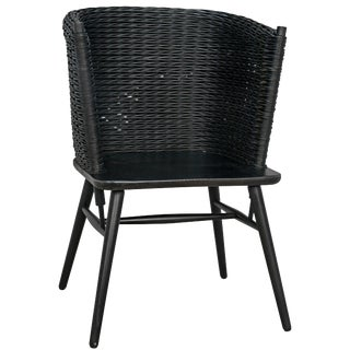 Curba Chair With Rattan, Charcoal Black For Sale