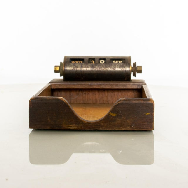 Park Sherman Perpetual Calendar Walnut & Brass Office Notepad Tray 1950s For Sale - Image 11 of 11