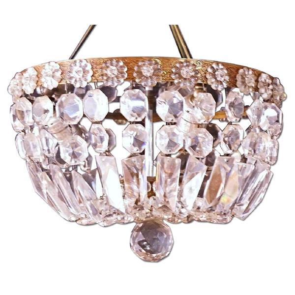 Brass & Crystal Dome Chandelier For Sale - Image 5 of 5