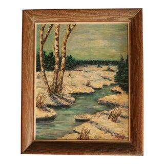 Winter Birch Oil Painting in Cerused Oak Frame For Sale