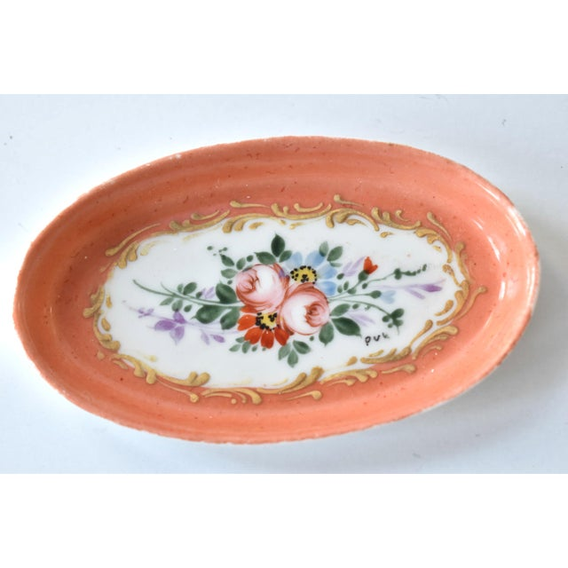 French Antique Limoges Hand-Painted Oval Trinket Dish For Sale - Image 3 of 7
