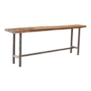 Vintage Industrial Console Table With Iron Base and Rustic Slab Wood Top For Sale