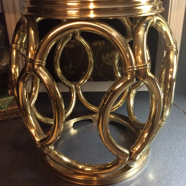 Gold 1970's Mid Century Modern Maitland Smith Sculptural Brass Lattice Garden Stool For Sale - Image 8 of 9