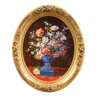 'Spring Flowers in a Blue Planter', French School Impressionist Still Life Oil For Sale
