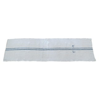 Antique 7-Foot Blue Striped Monogrammed Grain Feed Sack Runner For Sale
