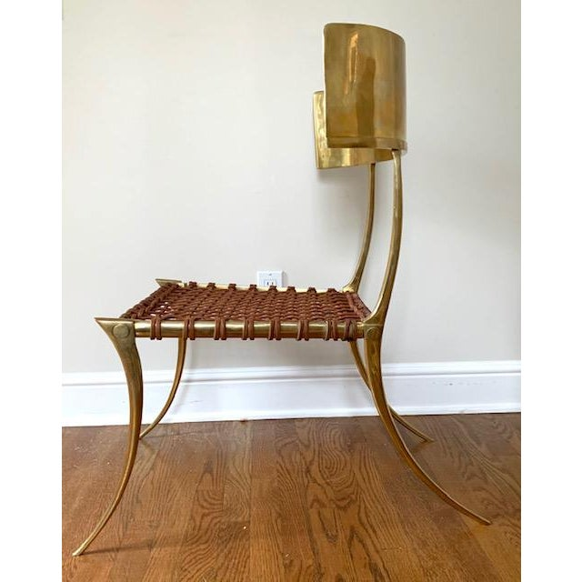 Scala Luxury Brass Leather Klismos Chair For Sale In New York - Image 6 of 12