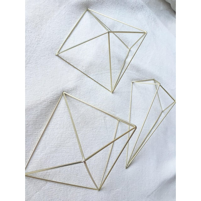 Metal Gold 3D Diamond Wall Hangings - Set of 3 - Image 6 of 6