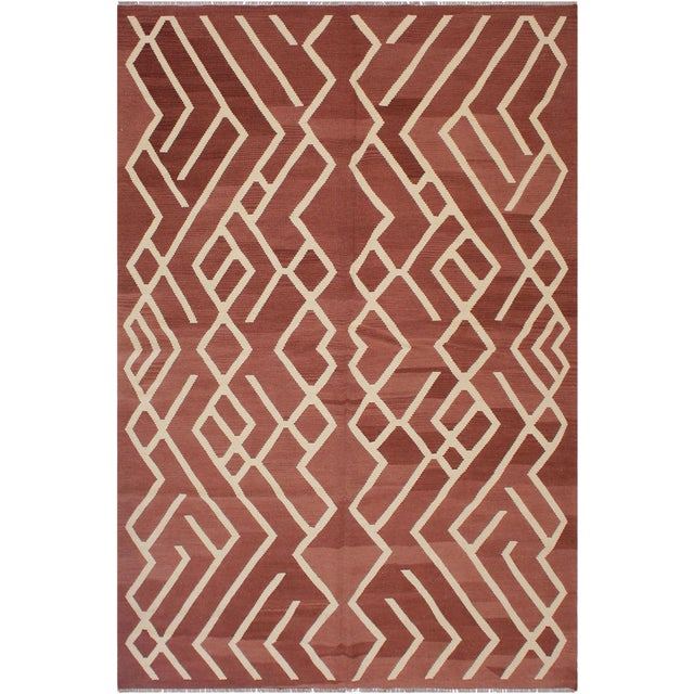 White Modern Bauhaus Annabell Brown/Ivory Hand-Woven Kilim Wool Rug - 6'10 X 9'8 For Sale - Image 8 of 8