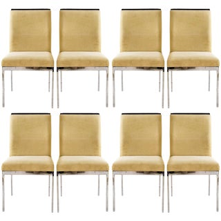 Set of 8 Chrome Dining Chairs by Milo Baughman for Design Institute of America