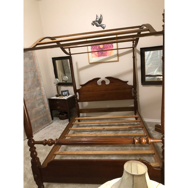 Wood 1960s Traditional Thomasville Full Size Four 4 Poster Canopy Bed For Sale - Image 7 of 13