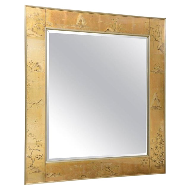 La Barge Mirror With Eglomise Style Panels Depicting Chinoiserie Scenes in Gold For Sale
