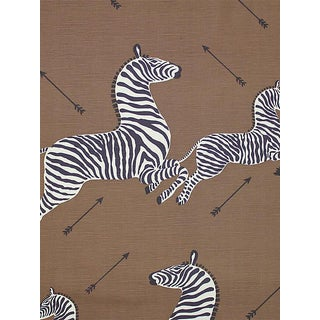 Sample, Scalamandre Zebras, Safari Brown Fabric For Sale