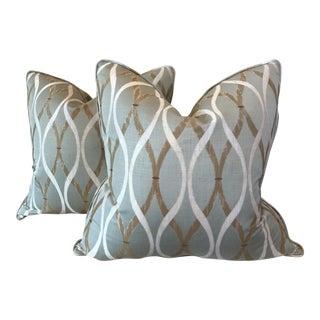 "Aqua Diamond Patterned 22"" Pillows - A Pair"