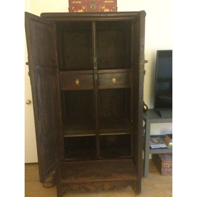 Asian Antique Wooden Chinese Armoire For Sale - Image 3 of 5