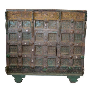 Antique Indian Carved Wooden Cabine For Sale