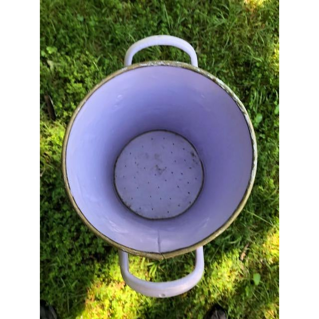 Lavender Flora and Fauna Antique French Metal Bucket For Sale - Image 8 of 10