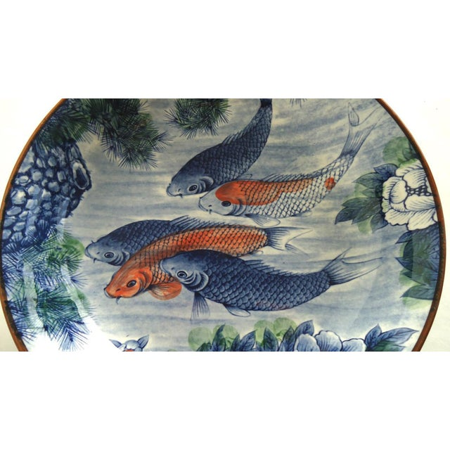Japanese Serving Bowl with Koi Fish - Image 3 of 7