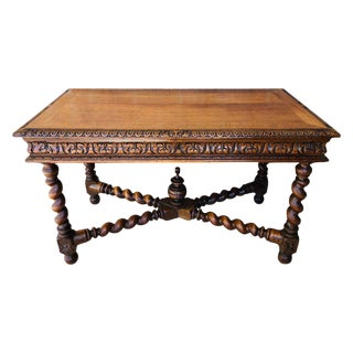 19th Century Walnut and Wrought Iron Desk With Three Drawers With Turning Legs For Sale