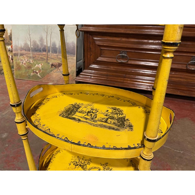 Mid 20th Century Mid-Century French Hand Painted Three-Tier Tole Side Table For Sale - Image 5 of 9