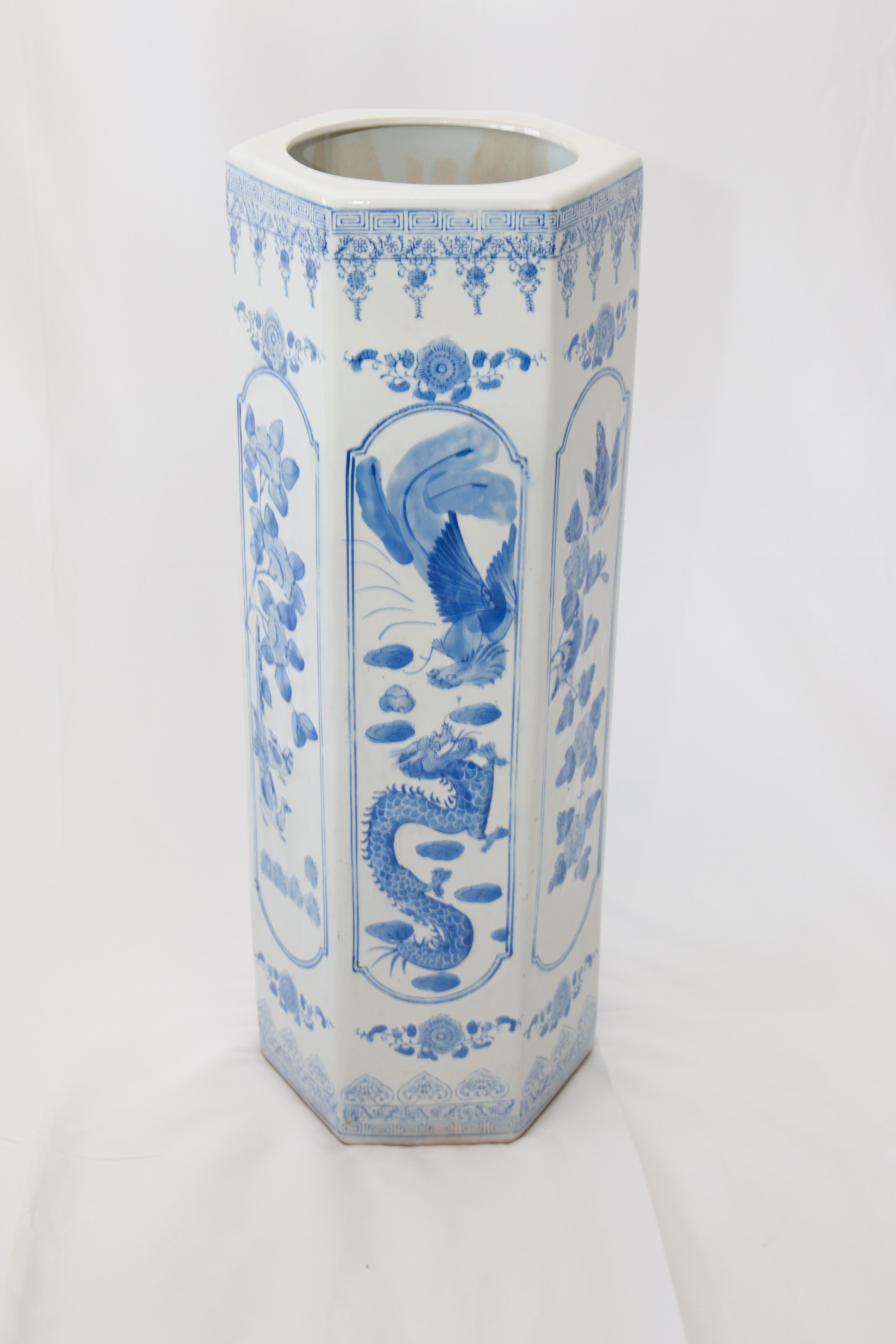 Large Antique Chinese Blue U0026 White Umbrella Stand For Sale   Image 11 Of 11