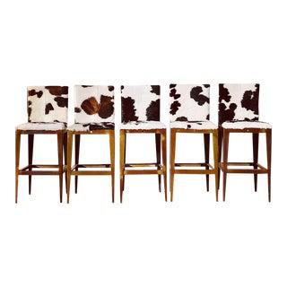 1920s Vintage Reupholstered Industrial Bar Stools- Set of 5 For Sale