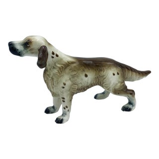 Mid Century Japanese Porcelain Brown and White English Setter Dog For Sale