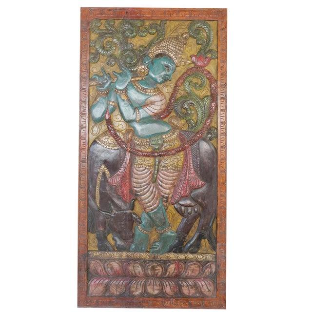 1990s Indian Carved Krishna Handmade Vintage Wall Relief Sculptural Door For Sale - Image 5 of 5