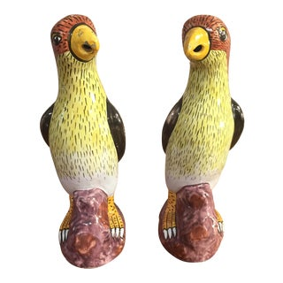 19th C French Faience Polychrome Parrots - a Pair