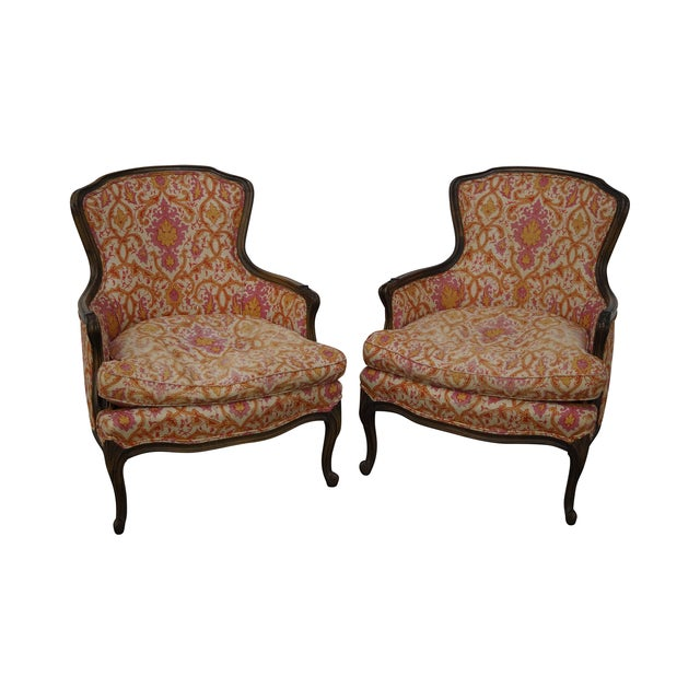 French Louis XV Vintage Red Bergere Chairs - Pair - Image 1 of 10