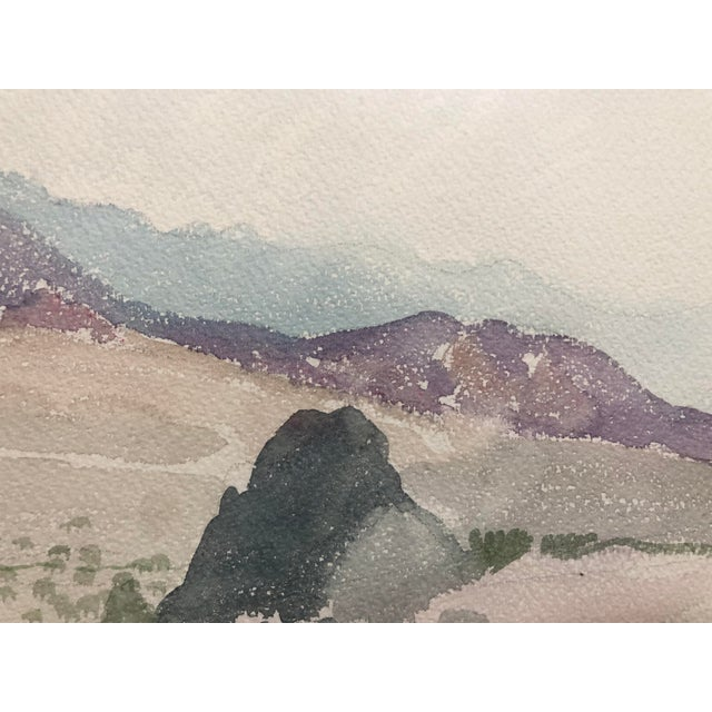 Impressionist Vintage Desert Landscape Watercolor Painting For Sale - Image 3 of 7