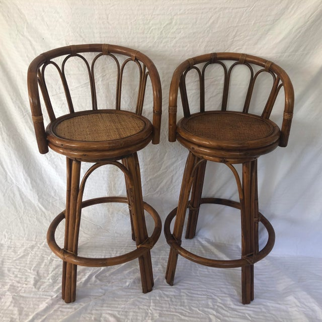 Mid-Century Bamboo Swivel Barstools - a Pair For Sale - Image 9 of 9