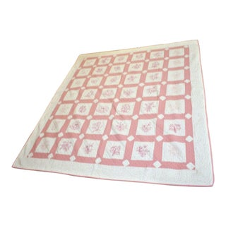 Antique Hand Sewn With Pink Floral Design Estate Quilt For Sale