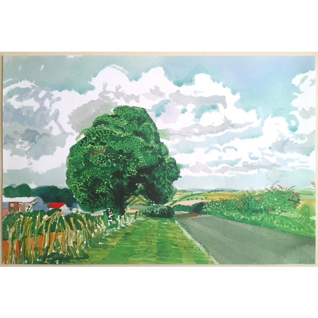 """David Hockney Fine Art Lithograph Print Midsummer : East Yorkshire Series """" Road and Tree Near Wetwang """" 2004 For Sale - Image 12 of 13"""